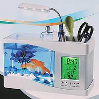 Настольный мини USB аквариум органайзер с часами