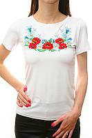Вышитая белая женская футболка