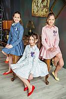 Стильное платье Мелания в двух цветах: розовое и белое (р.128,134,140,146)