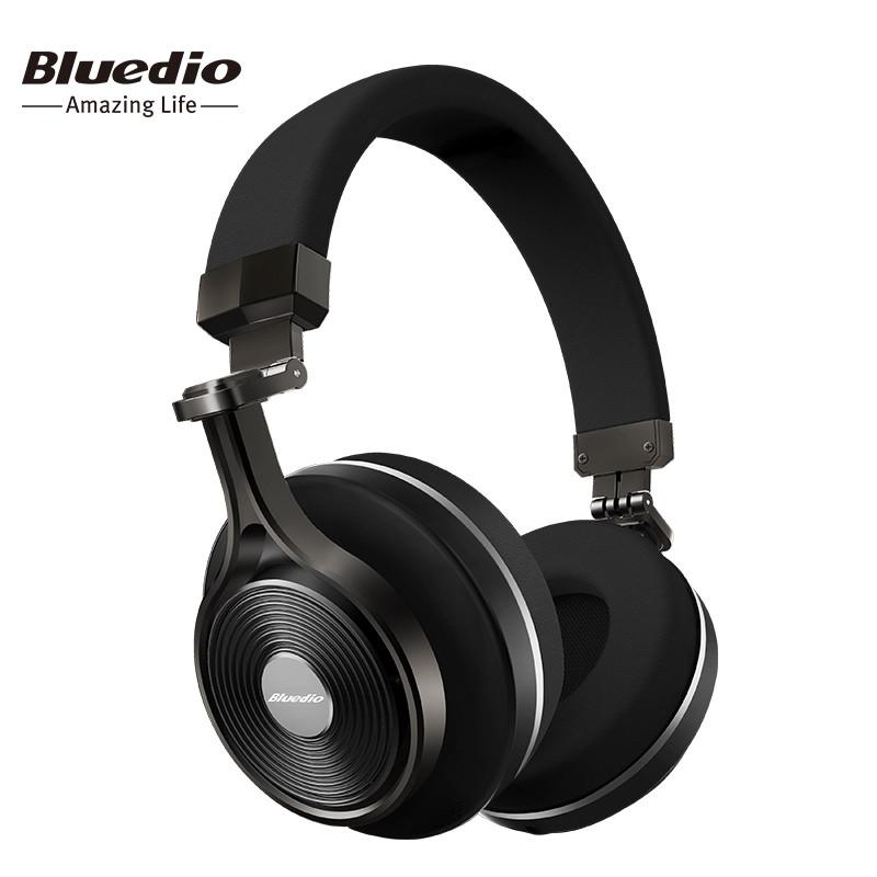 Беспроводные Bluetooth наушники гарнитура Bluedio T3+ Plus Turbine, поддержка microSD карт. Черные.