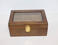 Недорогая деревянная шкатулка для часов Швейцария на 3 отделения