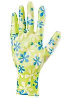 Перчатки садовые из полиэстера с нитриловым обливом, зеленые, S //PALISAD 67741