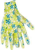 Перчатки садовые из полиэстера с нитриловым обливом, зеленые, M //PALISAD 67742