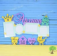 Детская фоторамка, подарок новорожденному, декор в детскую