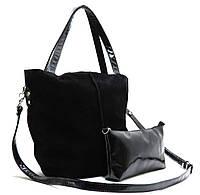 Женская замшевая сумка 04 HZ Черная