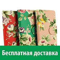 Чехол-книжка для Lenovo A1000 (цветы) (Леново А1000, А 1000)