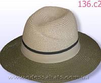 Мужская летняя шляпа цвет верх бежевый  поля оливковые