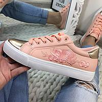 Кеды розовые с вышивкой золотой носочек, эко-кожа, кеды женские  интернет магазин