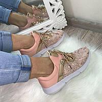 Кроссовки с пайетками, розовый, эко-кожа+обувной текстиль,, кеды женские  интернет магазин