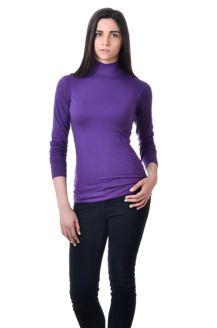 Однотонная классического кроя водолазка, фиолетовая