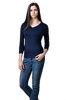 Женская футболка с длинным рукавом однотонная темно-синяя