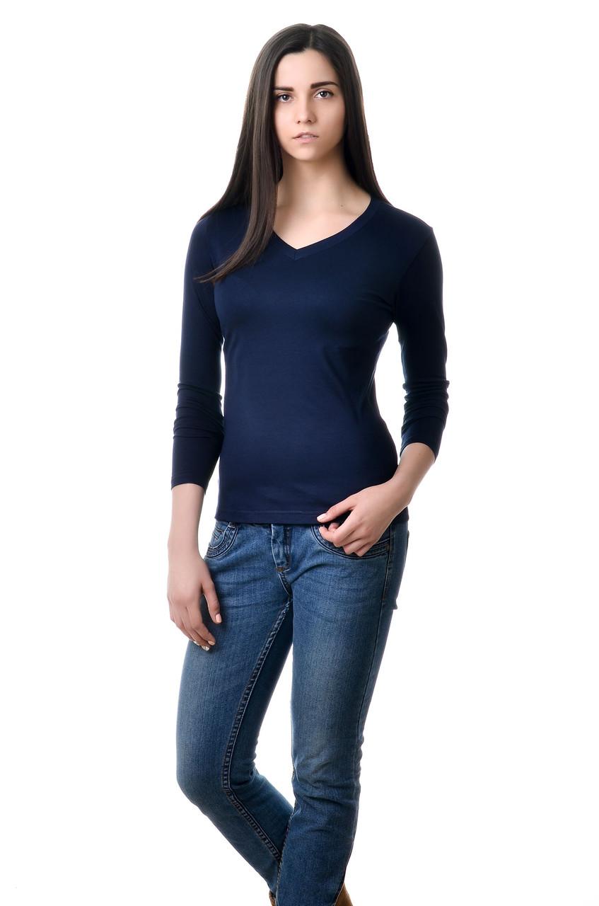 Жіноча футболка з довгим рукавом, однотонна темно-синя