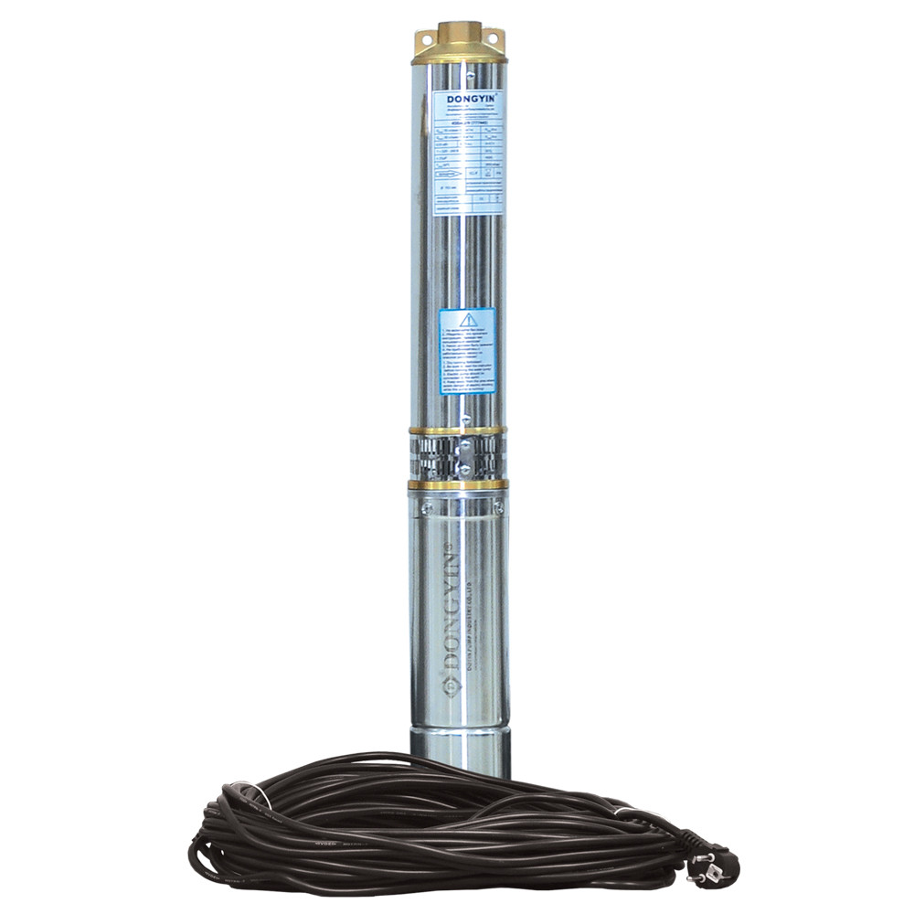Насос центробежный 0.37кВт H 44(33)м Q 100(60)л/мин Ø102мм 25м кабеля dongyin 777470