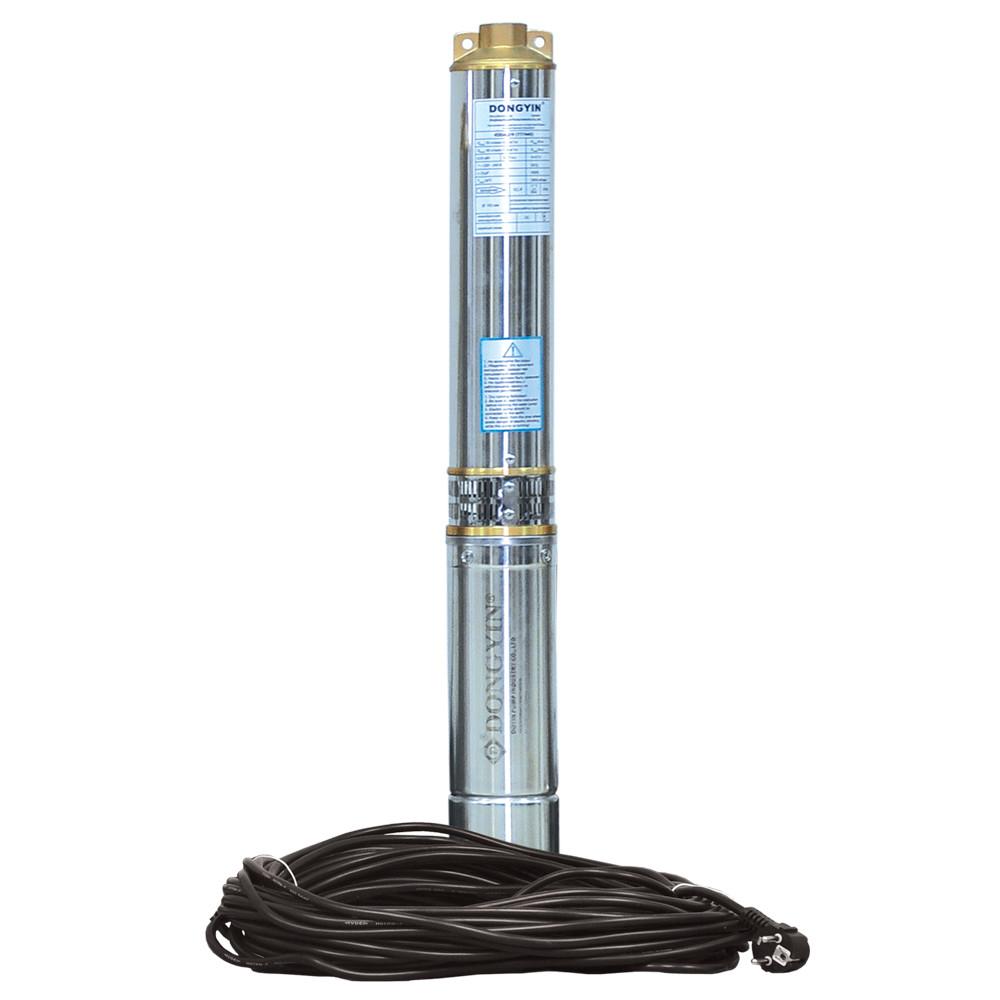 Насос центробежный 1.1кВт H 87(66)м Q 100(60)л/мин Ø102мм 45м кабеля dongyin 777474