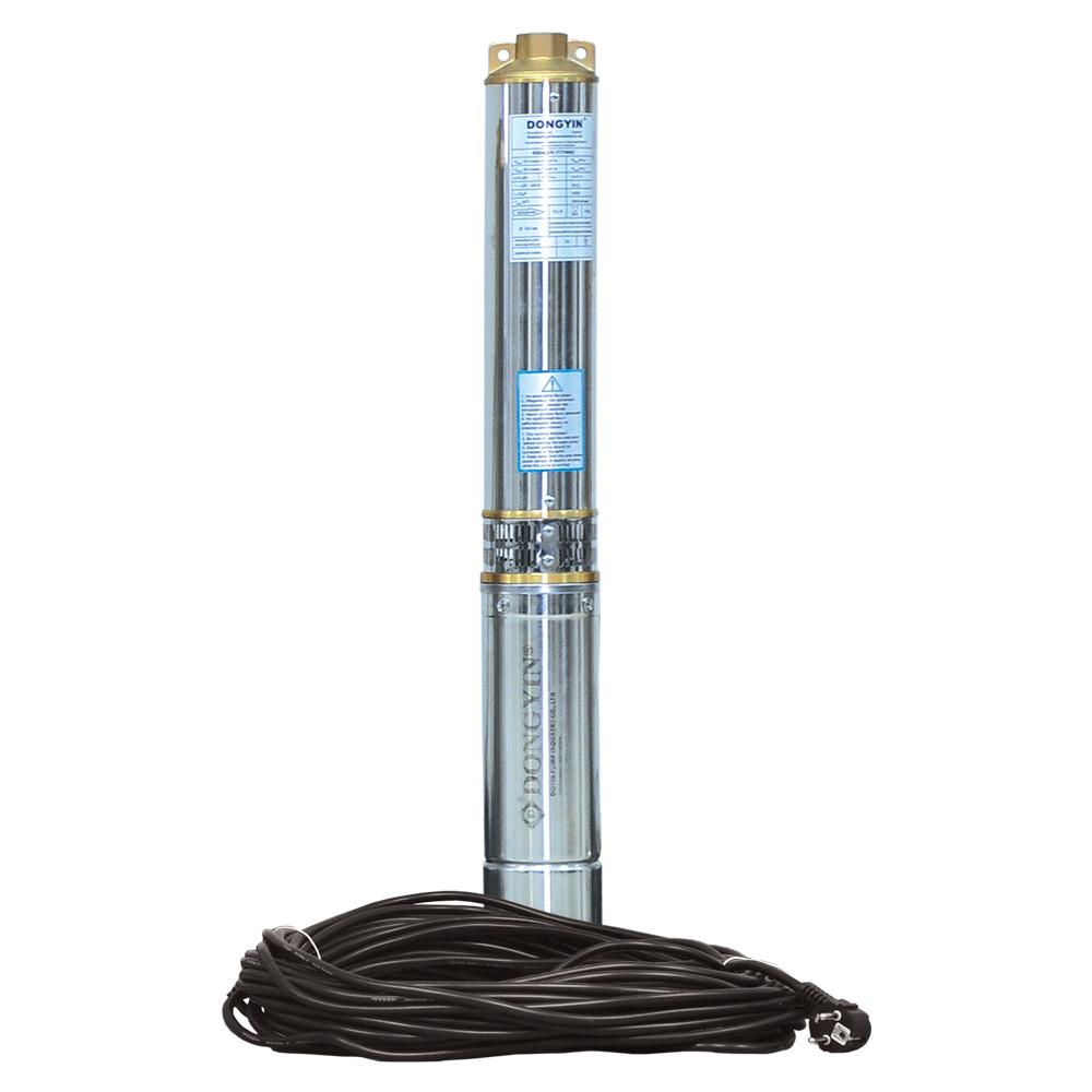 Насос центробежный 0.75кВт H 51(33)м Q 140(100)л/мин Ø102мм 25м кабеля dongyin 777492