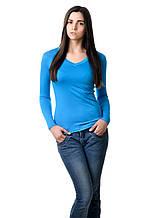 Женская футболка с длинным рукавом однотонная бирюзовая