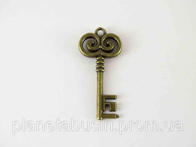 Кулон Бронзовый ключ, размер 15х32 мм, фото 2