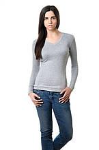 Женская футболка с длинным рукавом однотонная цвета меланж