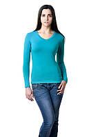 Женская футболка с длинным рукавом однотонная цвета морской волны