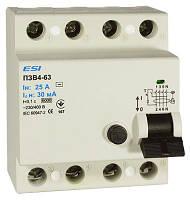 Модульное устройство защитного отключения ПЗВ 2-63, 4 п, 63 А, 30 мА, 6 кА