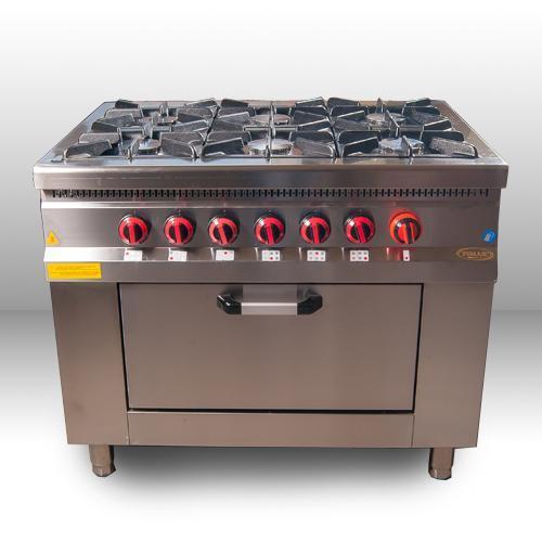 Плита 6-ти конфорочная с духовым шкафом и газовым контроллером M015-6 Pimak (Турция)