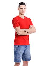 Мужская однотонная футболка прилегающего кроя, с V-образным вырезом, красная