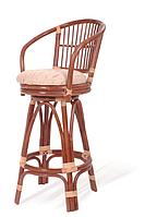 Барный стул со спинкой с натурального ротанга