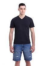 Мужская футболка приталенного кроя, с V-образным вырезом темно-серая