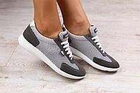 Женские кроссовки сетка, в стиле Lacoste, серого цвета