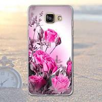 Бампер силиконовый чехол для Samsung A7 - 2016 Galaxy A710 с картинкой Розовые розы