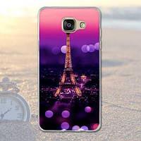 Бампер силиконовый чехол для Samsung A7 - 2016 Galaxy A710 с картинкой Париж ночью