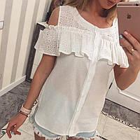 Блуза женская - Волан - белая - М-01345