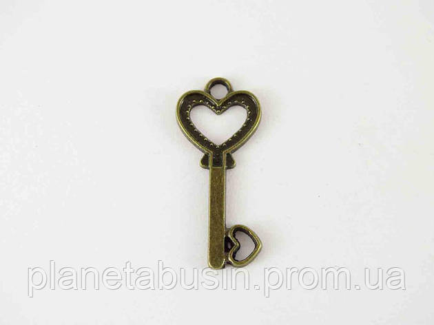 Кулон Ключик от сердца, размер 13х29 мм, фото 2