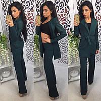 Костюм женский пиджак с поясом и брюки клеш 2 цвета Dol367