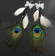 Яркие длинные Серьги с Перьями Павлина и бабочками