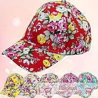Яркие летние кепки с цветами для девочек (объём 54 см) (vti102)