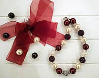 """Бусы для девочек """"Бордо"""" (ожерелье, колье, бижутерия)"""