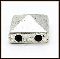 Разделитель на 2 нити, серебро (1*1*0,6 см) 6 шт. в уп.