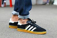 Мужские кроссовки Adidas Gazelle черные на полиуретановой подошве, размеры с 40 по 45