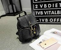 Плетеный черный рюкзак с карманами