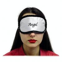 """Маска, повязка для сна """"Angel"""" белая с чёрным рюшем"""