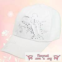 Однотонные кепки со стразами для девочек (объём 55- 56 см) Белый и Бежевый цвет (vti105)