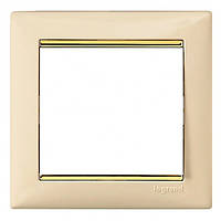 Рамка 1-ая горизонтальная Legrand Valena 774151 слоновая кость / золотой штрих