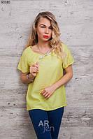 Молодежная летняя блуза с коротким рукавом со стразами