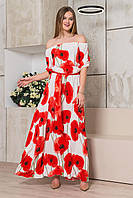 Женское  длинное цветочное платье Маки