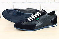 Мужские кроссовки с перфорацией в стиле Lacoste, натуральная кожа, фото 1