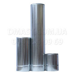 Труба для дымохода утепленная 0,8мм ф130/200 нерж/оцинк 1м (сендвич) AISI 321