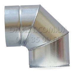 Коліно для димоходу утеплене 0,8 мм ф150/220 нерж/оцинк 90гр (сендвіч) AISI 321