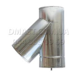 Тройник для дымохода утепленный 0,8мм ф100/160 нерж/оцинк 45гр (сендвич) AISI 321
