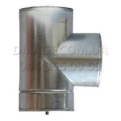 Трійник для димоходу утеплений 0,8 мм ф130/200 нерж/оцинк 87гр (сендвіч) AISI 321